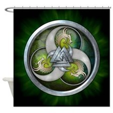 Norse Dragons With Valknut - Green Shower Curtain