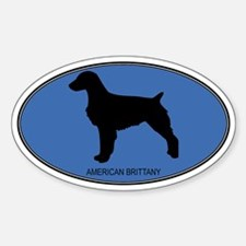 American Brittany (oval-blue) Oval Decal