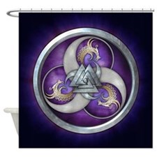 Purple Norse Triple Dragons Shower Curtain