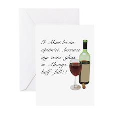 Wine Glass Half Full Optimist Greeting Card