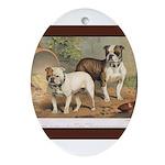 Antique Bulldogs Oval Ornament
