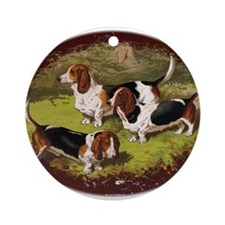 Antique Basset Hounds Ornament (Round)
