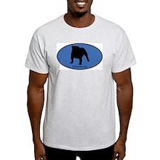 English Bulldog (oval-blue) T-Shirt