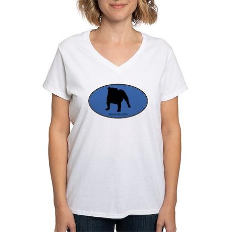 English Bulldog (oval-blue) Women's V-Neck T-Shirt