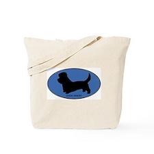 Dandie Dinmont (oval-blue) Tote Bag