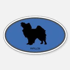 Papillon (oval-blue) Oval Decal