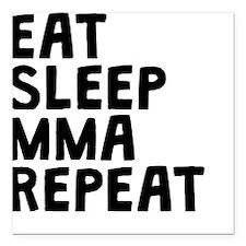"Eat Sleep MMA Repeat Square Car Magnet 3"" x 3"""