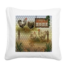 Home Sweet Home Chickens and  Square Canvas Pillow