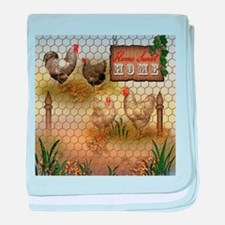 Home Sweet Home Chickens and Roosters baby blanket
