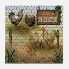 Home Sweet Home Chickens and Roosters Tile Coaster