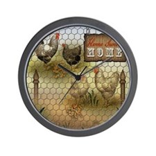 Home Sweet Home Chickens and Roosters Wall Clock