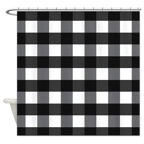 Gingham Black White Checks Shower Curtain By Mainstreethomewares