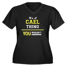 Unique Cael Women's Plus Size V-Neck Dark T-Shirt