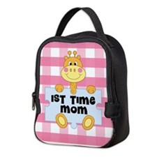1st Time Mom baby girl giraffe Neoprene Lunch Bag