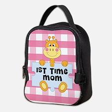 1st Time Mom baby girl giraffe Neoprene Lunch Bag