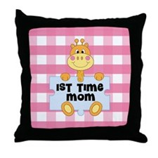 1st Time Mom baby girl giraffe Throw Pillow
