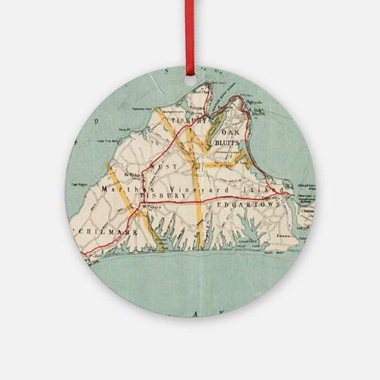 Vintage Map of Martha's Vineyard (1 Round Ornament