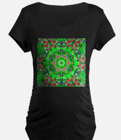 Green Floral Pattern Maternity T-Shirt