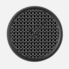 Black and White Horseshoe Pattern Large Wall Clock