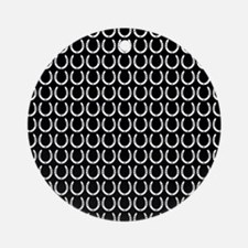 Black and White Horseshoe Pattern Ornament (Round)