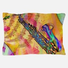 Colorful saxaphone Pillow Case