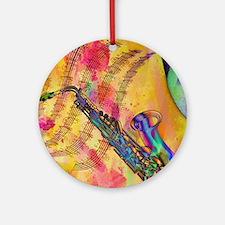 Colorful saxaphone Ornament (Round)