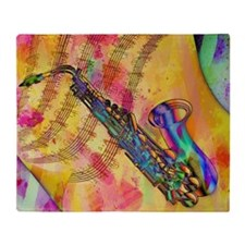 Colorful saxaphone Throw Blanket