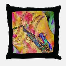 Colorful saxaphone Throw Pillow