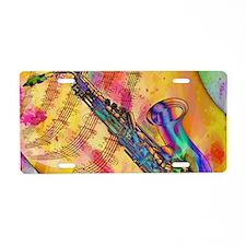 Colorful saxaphone Aluminum License Plate