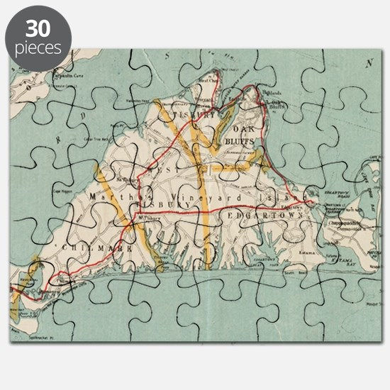 Vintage Map of Martha's Vineyard (1917) Puzzle