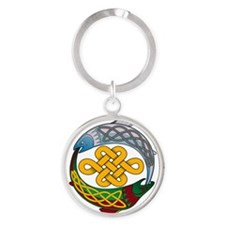 Cute Salmon of wisdom Round Keychain