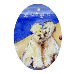 Wheaten beach Oval Ornament