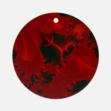 Red Fusions Fractal Art Ornament (Round)