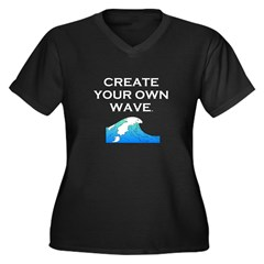 Create Your Own Wave Women's Plus Size V-Neck Dark