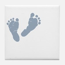 Baby Blue Footprints Tile Coaster