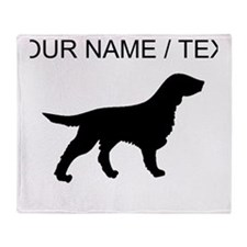 Custom Flat-Coated Retriever Silhouette Throw Blan