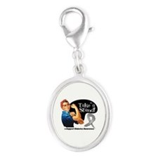 Diabetes Stand Silver Oval Charm