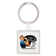 Diabetes Stand Square Keychain