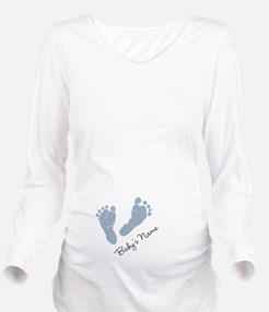 Baby Blue Footprints Long Sleeve Maternity T-Shirt