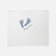Baby Blue Footprints Throw Blanket