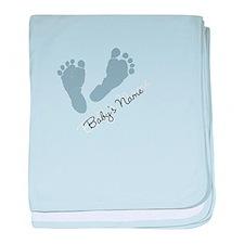Baby Blue Footprints baby blanket