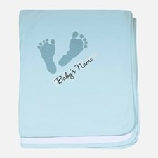 Baby Blue Footprints baby blanket