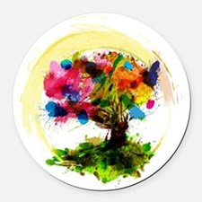 Watercolor Tree of Life Round Car Magnet