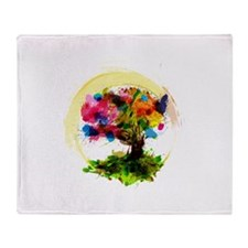 Watercolor Tree of Life Throw Blanket