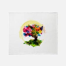 Watercolor Tree of Life Throw Blanket