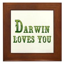 Darwin Loves You Framed Tile