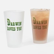 Darwin Loves You Drinking Glass