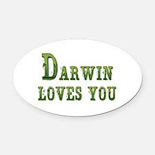 Darwin Loves You Oval Car Magnet