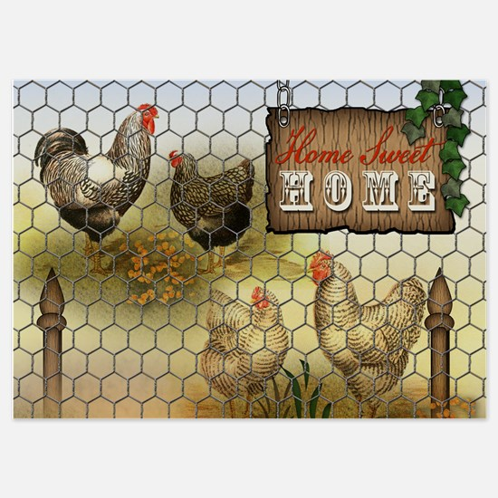 Home Sweet Home Chickens and Roosters Invitations