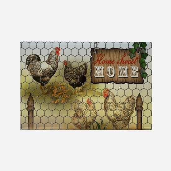 Home Sweet Home Chickens and Roosters Magnets